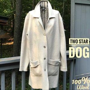 ANTHRO 2 STAR DOG COAT SWEATER